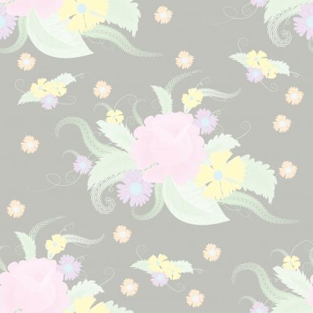 garden cornflowers: Seamless pale floral pattern illustration