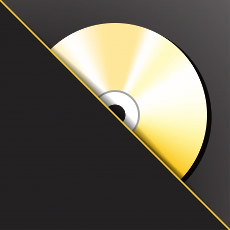 empty pocket: Gold digital CD  compact disc  in the pocket illustration