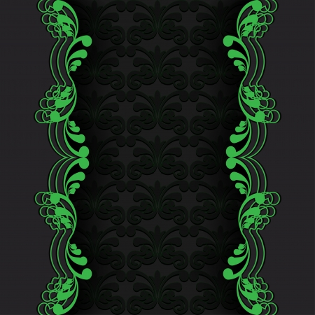 Abstraction dark background with green floral elements illustration Vector