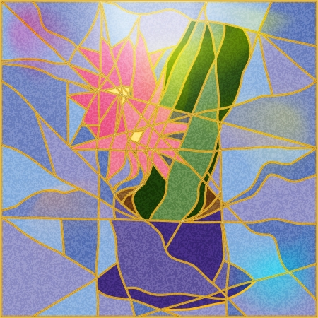 stained glass: Stained glass window depicting a flower illustration