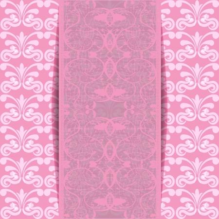 Pink invitation or greeting card illustration Stock Vector - 20725106