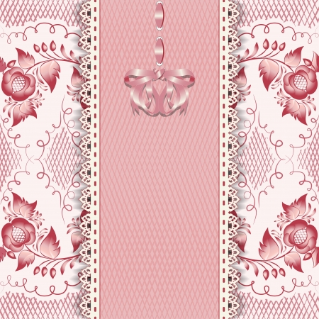 Stylish vintage greeting card in pink  Vector illustration Vector