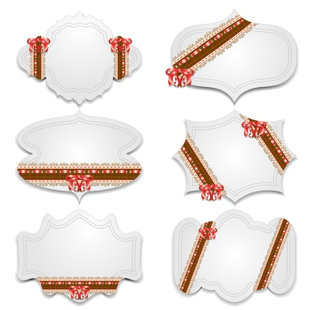 tied up: A collection of holiday greeting cards with lace ribbons and bow  Vector illustration
