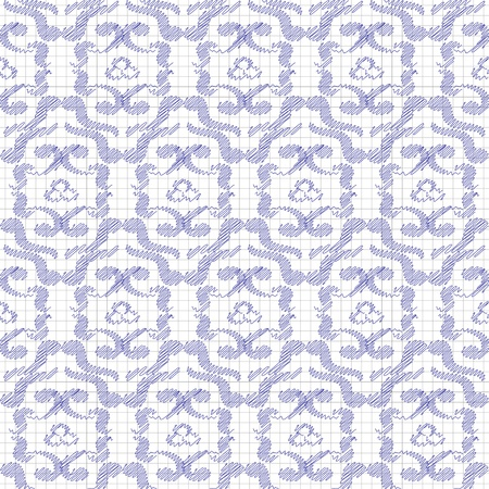 Seamless pattern, drawn in blue ink or pencil  Stylization  Vector illustration  Vector