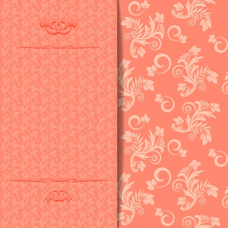 Vintage floral wedding invitation or greeting card  Vector illustration Vector