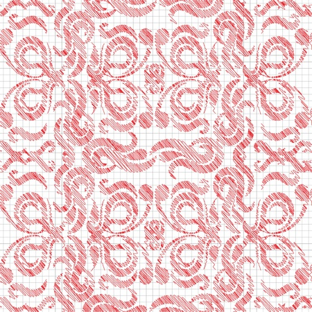 Seamless pattern, drawn in red ink or pencil  Stylization  Vector illustration  Stock Vector - 21550678