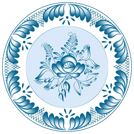 Round blue floral design in gzhel style  Vector illustration Vector