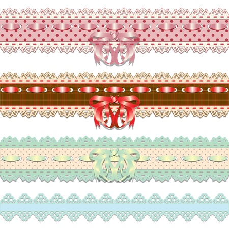 Set of colored lace ribbons with bow  Vector illustration Vector