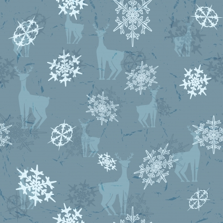 Seamless backgrounds with deers and snowflakes  Vector illustration  Vector
