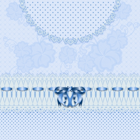 Lace greeting card with blue flowers, ribbon and bow  Can be used to design wedding invitations  Vector illustration  Vector
