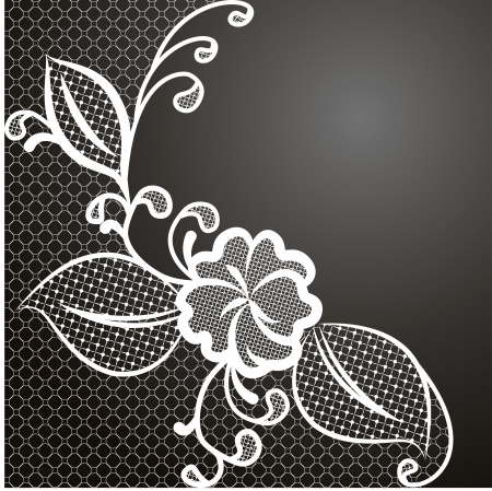 White lace corner against a dark background with space for text  Can be used to design wedding invitations and greeting cards  Vector illustration  Vector