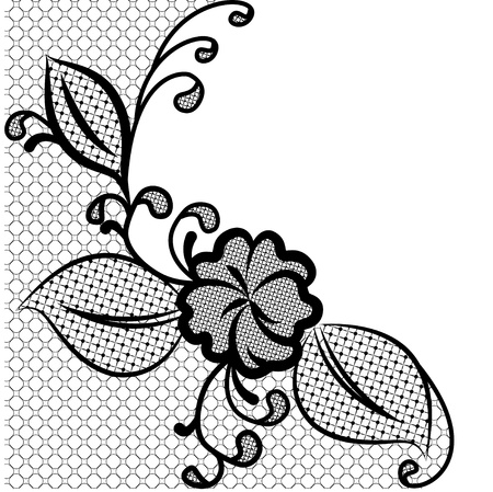 Lace corner black and white background with space for text  Can be used to design wedding invitations and greeting cards  Vector illustration