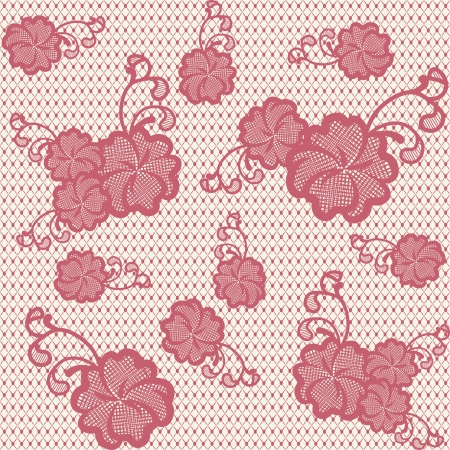 Seamless lace pattern with pink flowers  Can be used to design wedding invitations and greeting cards  Vector illustration  Vector