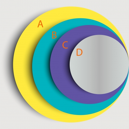Stylish template for infographics  Four multi-colored circles of different size with space for text  Can be used for design presentations and websites  Vector illustration  Vector