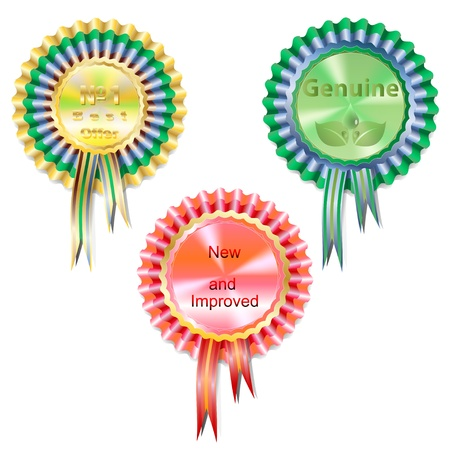 Set of three medals quality of different colors  Vector illustration  Vector