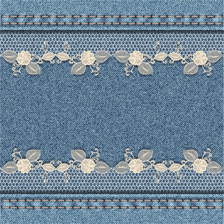 Denim background with white floral lace  Vector illustration