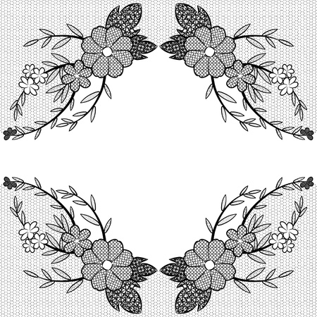Elegance black lace floral frame. Vector illustration.