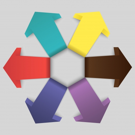 diverging: Volumetric diverging arrows to design a presentation or project. Six multi-colored signs.