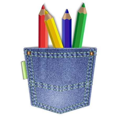 Jeans back pocket with colored pencils isolated on a white background. Stock Vector - 22143551