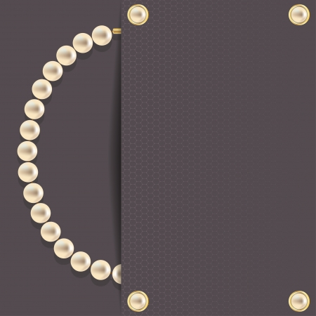 Stylish dark background with pearl necklace  Vector illustration  Vector