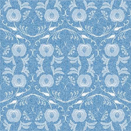 denim background: Denim background with elegant white flowers  Seamless pattern  Vector illustration