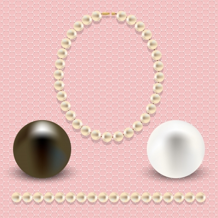 A collection of objects made   of pearls on pink lace background  Can be used as an independent background, or greeting card  Vector illustration  Vector