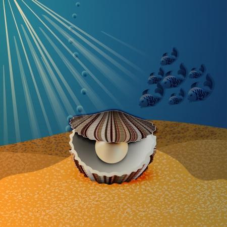 Shell con la perla en el piso de ilustración vectorial mar