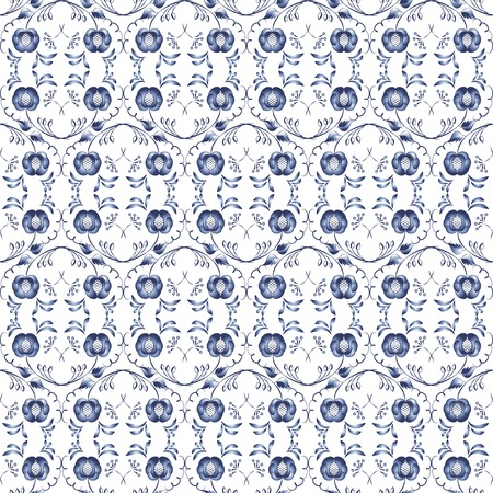 Elegant seamless pattern with blue stylized flowers  Vector illustration  Vector