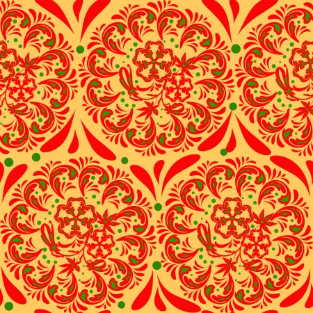 pastiche: The traditional Russian floral seamless background  red and green on gold or yellow   Stylization khokhloma  Vector illustration  EPS 8