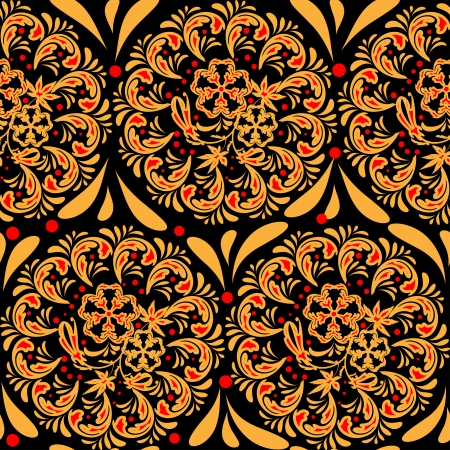 pastiche: The traditional Russian floral seamless background  red and yellow on black   Stylization khokhloma  Vector illustration  EPS 8