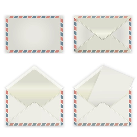 A set of four blank envelopes  The collection includes a front view, rear view and open the envelope and the envelope with the letter  Vector illustration