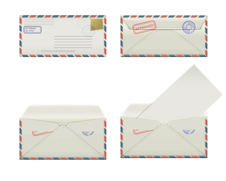 Set of four narrow envelopes with stamps and label  The collection includes a front view, rear view and open the envelope and the envelope with the letter  Vector illustration