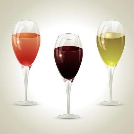 Set of three crystal glasses of wine of different brands  Vector illustration  Vector