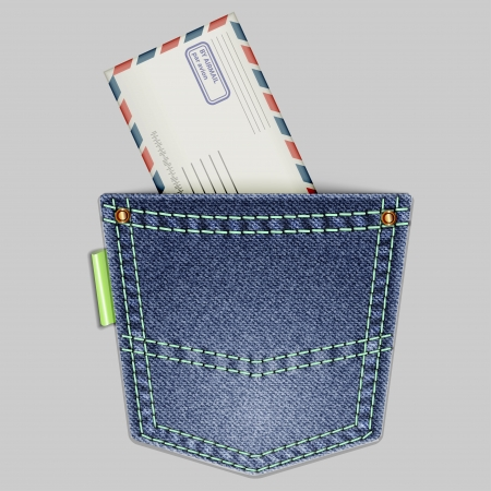 Jeans back pocket with an envelope on a gray background  Vector illustration  Illustration