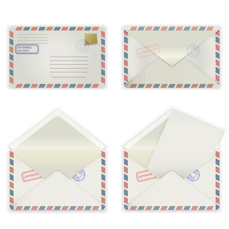 A set of four envelopes with stamps and label  The collection includes a front view, rear view and open the envelope and the envelope with the letter  Vector illustration  Illustration