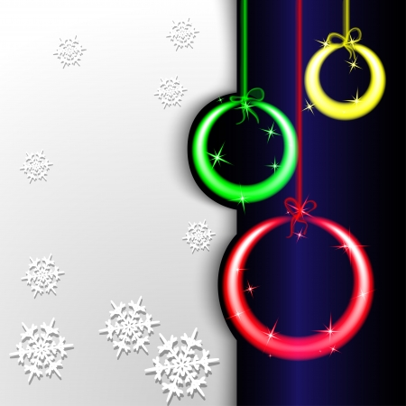 Christmas background  Colorful glowing neon colored balls and gray background with snowflakes  Vector illustration  Vector