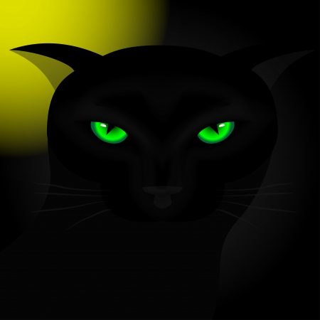 Background for Halloween. Black cat with green eyes at night under the moon. Vector illustration. Illustration