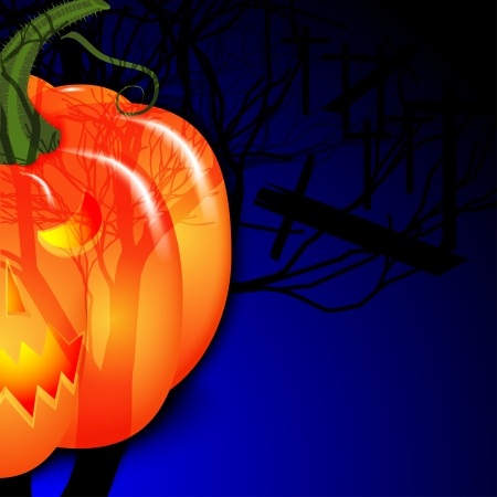 sepulcher: Background for Halloween. Pumpkin under the moon. Vector illustration.
