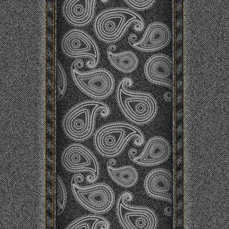denim background: Dark denim background with white paisley  vector illustration
