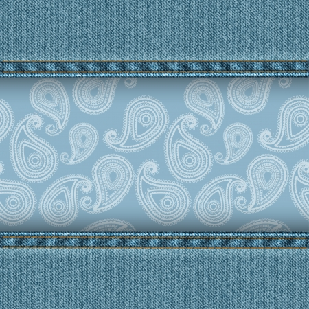 Denim background with paisley pattern  Vector illustration Vector