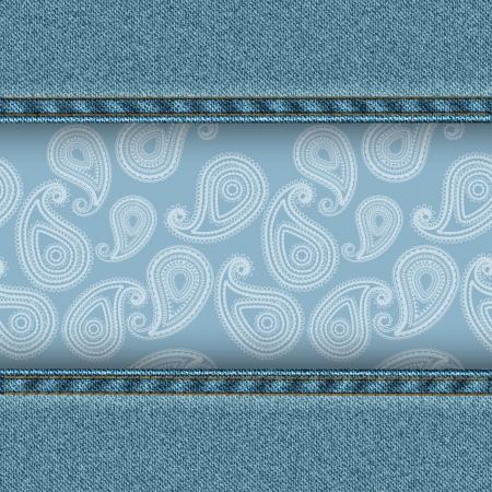 denim background: Denim background with paisley pattern  Vector illustration