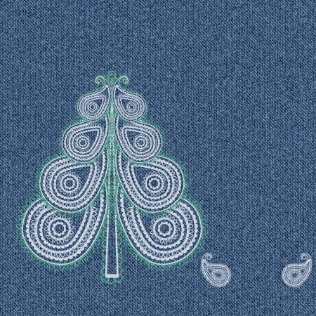 denim background: Christmas denim background with paisley pattern in the shape of a tree  Vector illustration Illustration