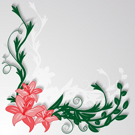 Floral decorative corner piece of lilies with leaves and twigs  Vector illustration  Vector