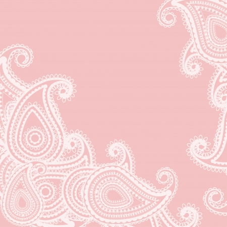 Pink card or invitation with paisley on Indian grounds  Vector illustration  Vector