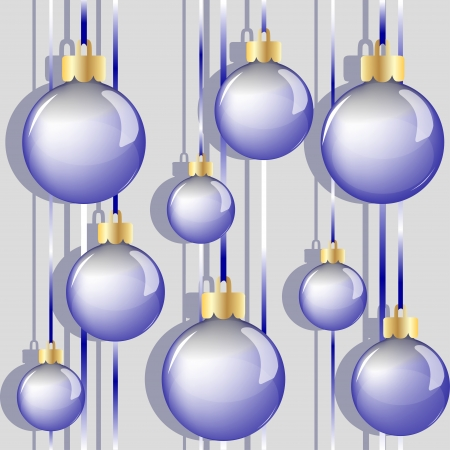 Seamless pattern of blue Christmas balls  Vector illustration  Vector