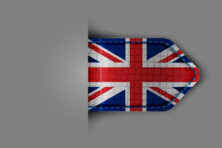 Flag of the United Kingdom of Great Britain in the form of a glossy textured label or bookmark. Vector illustration. Illustration