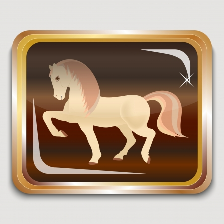 Year wooden horse on the eastern horoscope. Square icon. Vector illustration. Vector