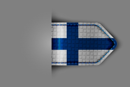 Flag of Finland in the form of a glossy textured label or bookmark  Vector illustration Stock Vector - 23213578