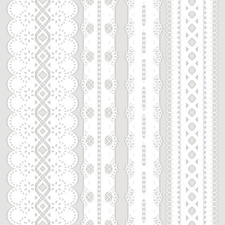 Set di quattro nastro di pizzo bianco senza soluzione di continuità isolato su uno sfondo grigio, vettore, illustrazione Archivio Fotografico - 23213656