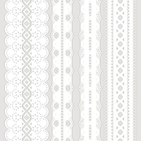 Set of four seamless white lace ribbon isolated on a gray background  Vector illustration